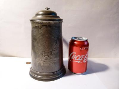 Antique 1864 CLARE College Scratch Fours Large Pewter Tankard Rowing