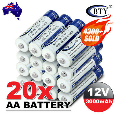 4-20X BTY AA Rechargeable Battery Recharge Batteries 1.2V 3000mAh Ni-MH OZ