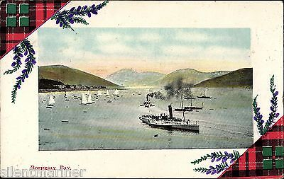 Rothesay Bay, old coloured postcard, posted 1910