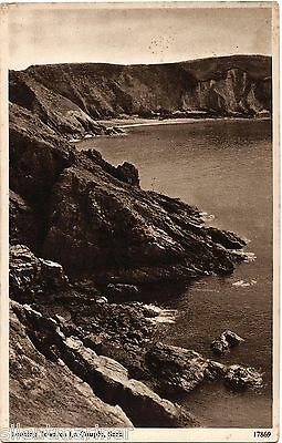 Sark, looking towards La Coupée, old sepia postcard, posted 1950
