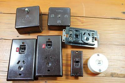 Vintage Bakelite Powerpoints, Light  Switches, Junction Boxes, Electrical
