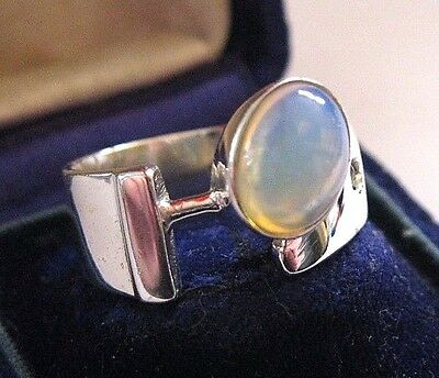 Vintage Modernist Style Solid 925 STERLING SILVER Natural OPAL Jewellery RING 8