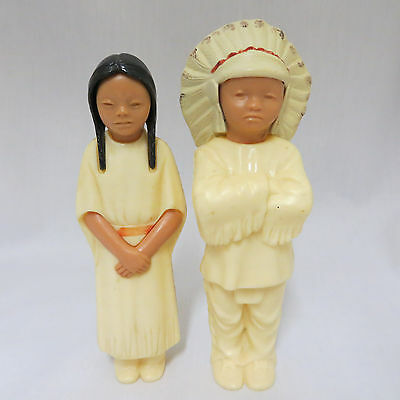 "2 Vintage 1950s Native Indian Dolls Figures 5.5"" Chief Squaw Celluloid"