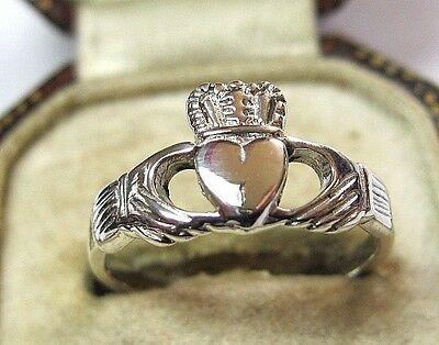 Vintage Style Solid Silver Celtic Irish Claddagh Ring Celtic Jewellery Size 7 O
