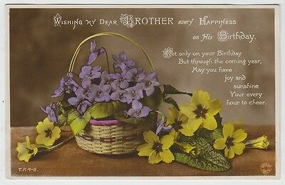 Birthday Greetings - My Dear Brother - Wicker Basket Violets Rotary Photo - 1930
