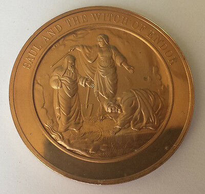BIBLICAL BRONZE MEDAL / MEDALLION - Saul and the witch of Endor