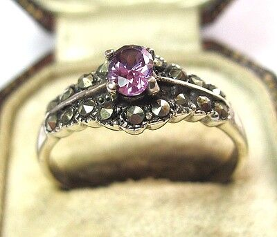 Vintage Edwardian Style Solid Sterling SILVER Marcasite Amethyst Crystal RING 10