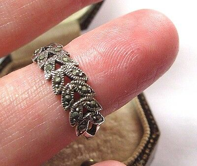 Vintage Edwardian Style Solid Sterling SILVER Marcasite RING Size P 1/2 7.75