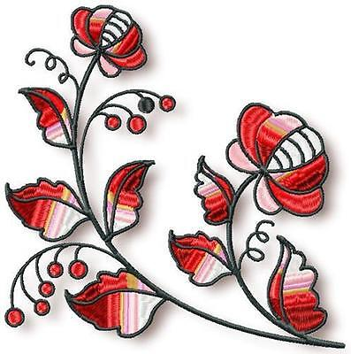 Ornamental Flowers 13 Machine Embroidery Designs Cd 3 Sizes Included