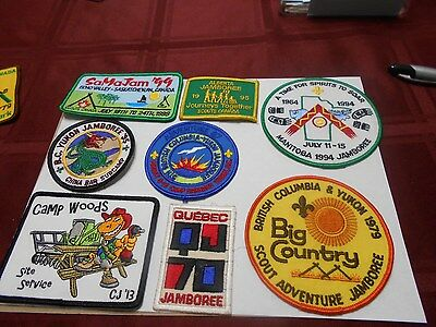 (Ym7-J) Eight Different Canadian Provincial Jamboree Badges At $3 Each