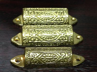 3 Cast Brass Victorian Style Drawer Pull Parts