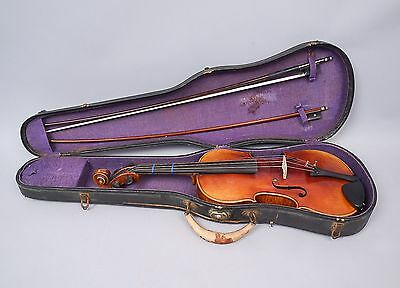 Antique Estate Found c1900 German Stainer Labeled Copy Violin w 2 Bows