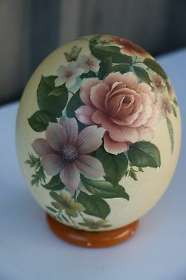 Emu Egg - Hand Painted with Flowers - On a stand - Australiana