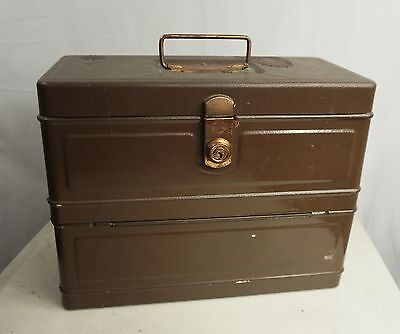"""Old HAMiLToN METAL PRoDUCTS """"CLiMAX"""" BoX - file/tackle/tool vintage/antique USA"""
