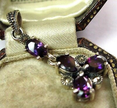 Vintage Edwardian Style Jewellery Solid Silver Amethyst Marcasite PENDANT