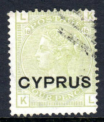 Cyprus QV 1880 4d Sage Green (Plate 16) SG4 Used Cat £225