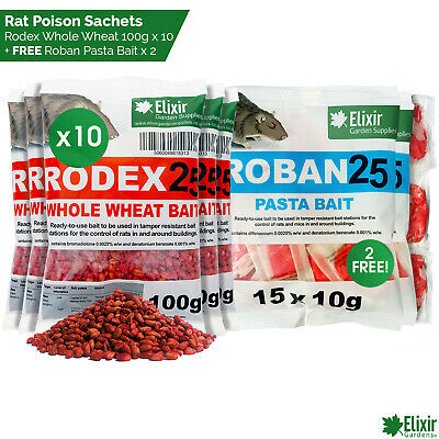 Rat Poison 1kg Strongest Available Online 10 x 100g Rodex25 lay and leave packs