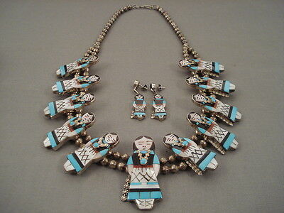 Incredibly Intricate Vintage Zuni Turquoise Silver Woman Necklace Earrings