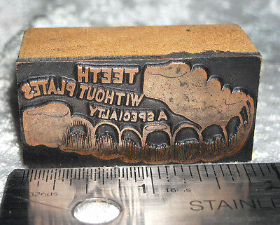 Vintage DENTIST AD - TEETH WITHOUT PLATES Printers Block ENGRAVED Metal Stamp