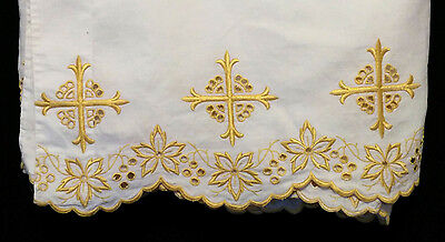 "LINEN ALTAR CLOTH GOLD EMBROIDERY 138"" Church Clergy Mass Priest Pastor Parament"
