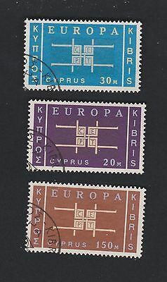 CYPRUS 229-231 Queen Eliz 1963 used set Europa