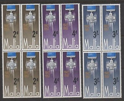 MALTA 361-3, 367-70 Complete sets 1967 blocks mint NH