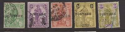 MALTA 117/124 Five  POSTAGE overprint used