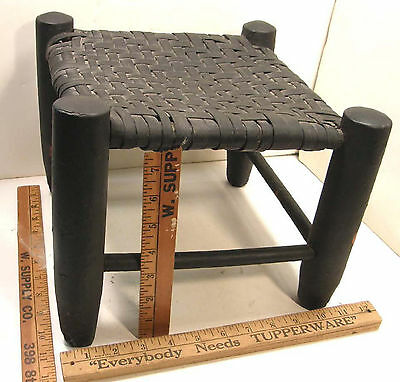 Small Antique Rustic Adirondack Hickory Foot Stool W/woven Splint Top Footstool