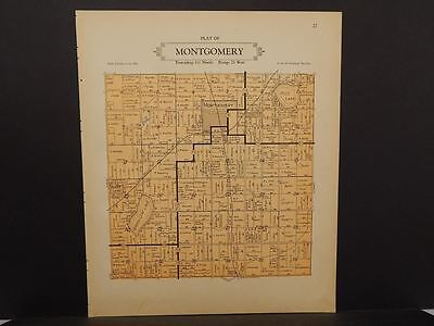 Minnesota Le Sueur County Map Montgomery Township 1928 Dbl Side L10#78