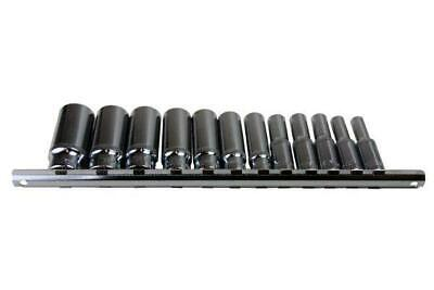 """US PRO 12pc 3/8"""" Deep SAE AF Imperial Sockets 6 Point Hex On Rail 1/4-7/8 B3257"""