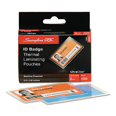 Ultraclear Thermal Laminating Pouches, Id Badge, 5mil, 2 5/8 X 3 7/8, 100/pack-G