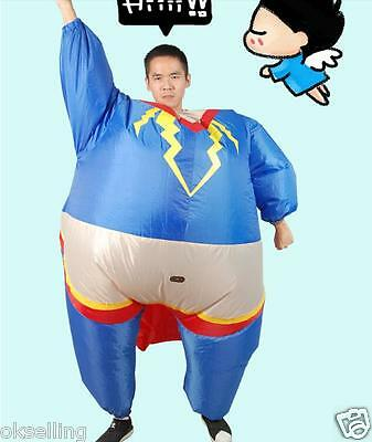 Inflatable Superman Costume Marvel Hero Fancy Dress Party Outfit Fan Unit adult