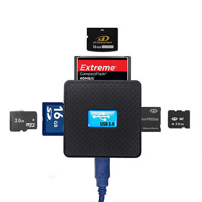 New All in One External USB 3.0 Micro SD TF CF XD M2 MS Multi Memory Card Reader