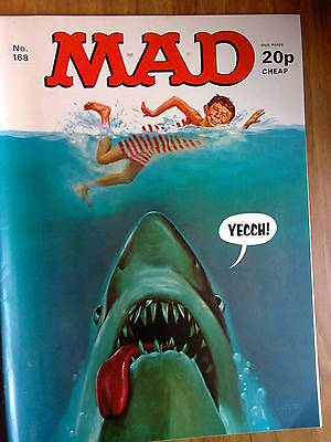 MAD, No 168, UK Issue, VINTAGE- priced at 20p, features JAWS