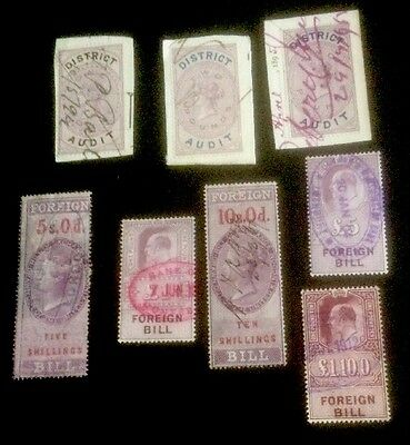 GB QV-KE Foreign Bill optd-District Audit used 8 stamps see scan