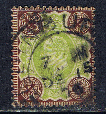 Great Britain #133(1) 1902 4 pence gray brown, green Edward VII Used SCV$12.50