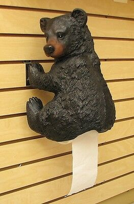 Large Resin  Bear Toilet Paper Holder Cabin Bath Decor