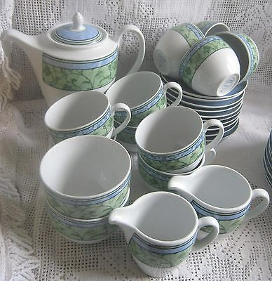 25x Wedgwood Home Watercolour Blue/Green Coffee Pot Cups Saucers Sugar Bowls Jug
