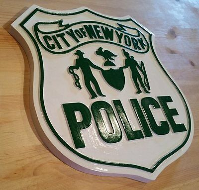 Early Classic New York Police 3d routed wood patch sign plaque Custom