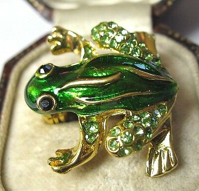 Pretty Vintage Style Vibrant Crystal Glass Enamel FROG Pin Jewellery BROOCH