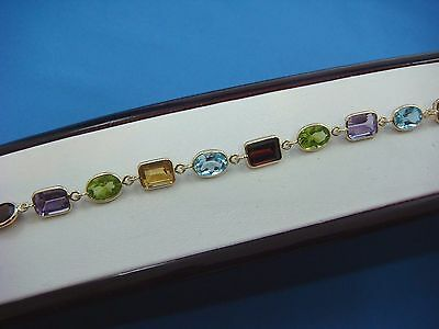14K Yellow Gold Genuine Multi-Color Stones Ladies Bracelet 7.1 Grams