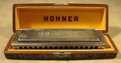 Vintage 1960's M Hohner Chromonika III Harmonica 16 Hole Key Of C Germany W/Case