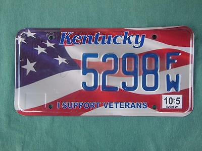 2009 Kentucky 5298-Fw I Support Veterans License Plate Flag Stars And Stripes