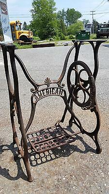 Cast Iron American Button Overseaming Company Sewing Machine Base Table Legs