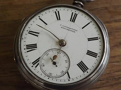Large Manchester Antique  A.livingstone Sterling Silver  Gents Pocket Watch