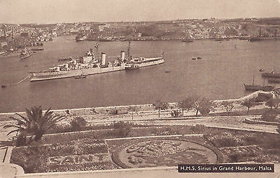 Royal Navy WWII H.M.S. SIRIUS 82 Dido-class cruiser GRAND HARBOUR Malta 1942-49