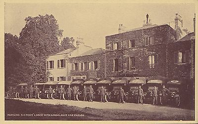 Nursing Sister's Lodge British Army Ambulances somewhere in France WWI Postcard