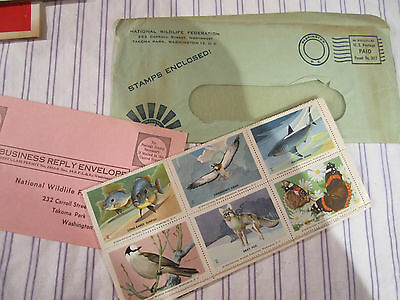 1960 Vintage Store National Wildlife Federation Conservation 36 Color Stamps Nip