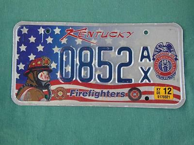 2007 Kentucky 0852Ax Firefighters License Plate Hero Dedication Rescue Flag Star