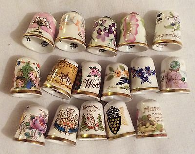 CAVERSWALL /SUTHERLAND China THIMBLES collection in wooden Display Case Job Lot